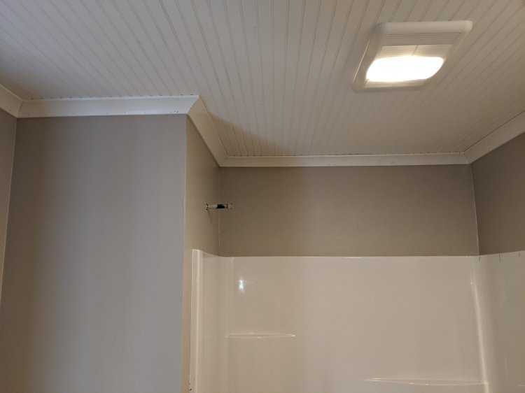 Crown Molding Installation, bathroom remodel